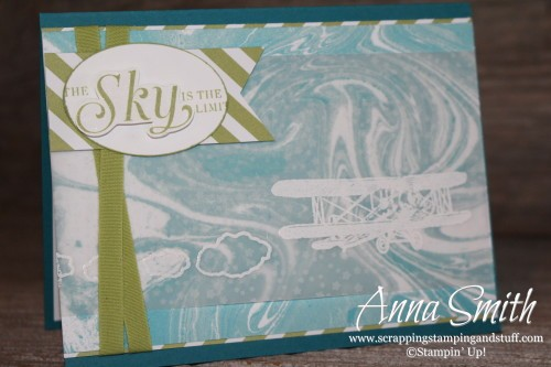 Sky is the Limit Card using Sale-a-bration gifts Sky is the Limit stamp set, Perfectly Artistic paper and Botanical Gardens designer vellum