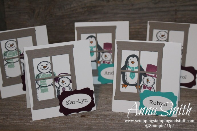Snowman Place Cards made with Stampin' Up! Snow Place stamp set and Hearth and Home window die