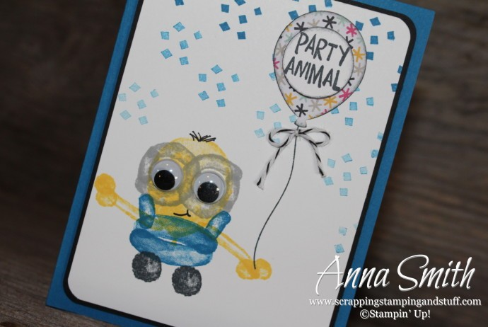 Balloon Builders Birthday Minion Card made with the Balloon Builders and Party with Cake stamp sets and the Balloon Bouquet Punch