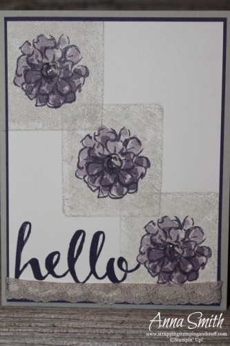 Block stamping technique flower card made with What I Love and Hello stamp sets that you can earn free during Sale-a-bration