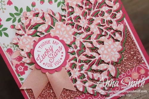 Valentine's Day Card made with Stampin' Up! Bloomin' Love dies, Going Global stamp set and love blossoms designer paper