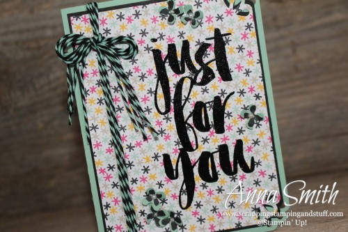 Just For You card using Stampin' Up! Botanicals for You Sale-a-bration gift stamp set, It's My Party designer paper, curvy corner trio punch