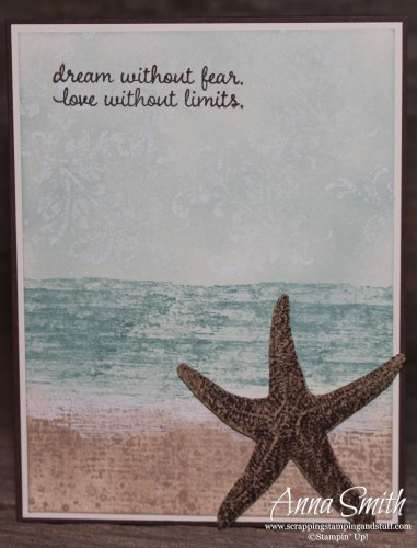 Picture Perfect beach scene and starfish card made with Stampin' Up! Picture Perfect and Timeless Textures stamp sets
