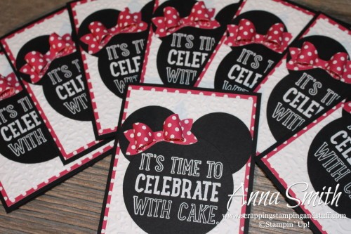 Little girl Minnie Mouse birthday party invitations made using the Party with Cake and Dotty Angles stamp sets and the Bow Builder punch