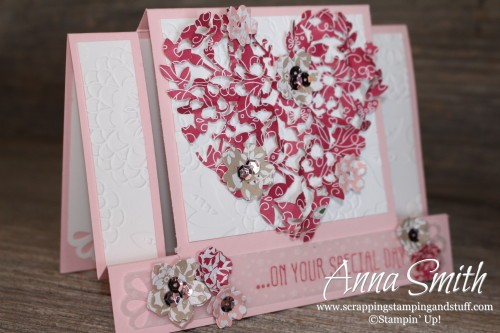 It's a Love Thing Fancy Fold Wedding Valentine's Card using Bloomin' Heart Thinlits, Botanicals For You and Big News stamp sets and Love Blossoms designer paper