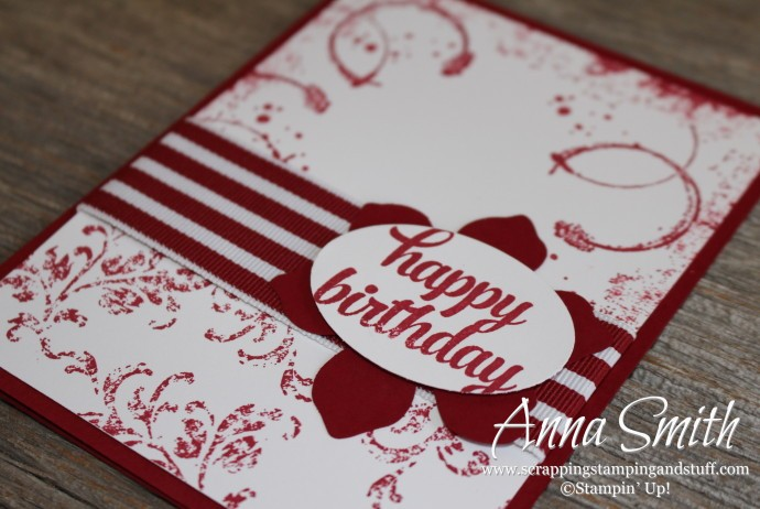 Red and white handmade birthday card using the Stampin' Up! Timeless Textures and Tin of Cards stamp sets.
