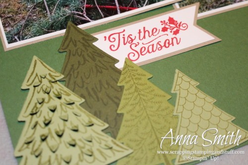 Christmas Tree Scrapbook Page made with Stampin' Up! Peaceful Pines and Oh What Fun stamp sets and Perfect Pines framelits