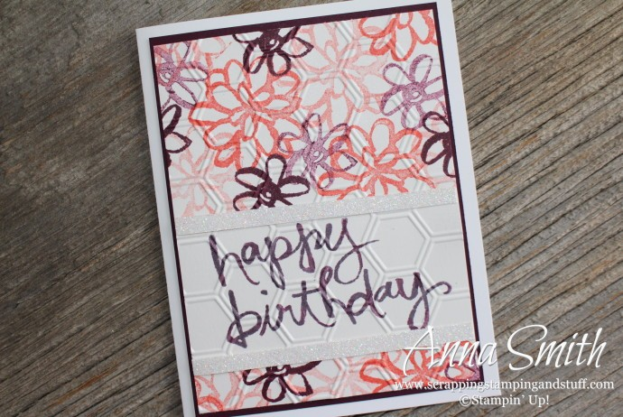 Watercolor Words Happy Birthday Card with pink and purple flowers, also uses the Honeycomb embossing folder
