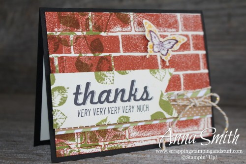 Brick Wall Thank You Card using Stampin' Up! Fabulous Four, Kinda Eclectic and Papillon Potpourri stamp sets and Brick Wall embossing folder