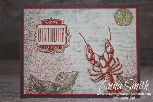 Masculine Birthday Card made with Stampin' Up! By the Tide and Tag Talk stamp sets. Ocean, lobster, shells and coral.