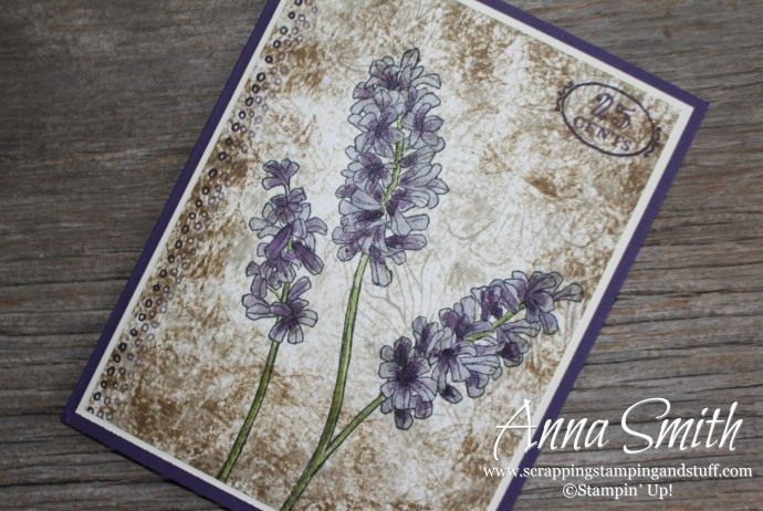 Stampin' Up! Helping Me Grow purple flower card using watercoloring and tissue stamping