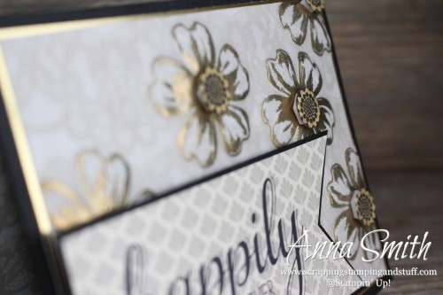 Elegant Wedding Card with written tutorial. Made with Stampin' Up! Flower Shop and Big News stamp sets.