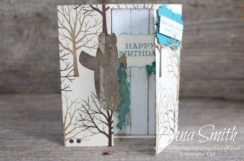 Bear Hugs Flip Card Birthday Card with written tutorial. Made with Stampin' Up! Sheltering Tree, Bear Hugs and Guy Greetings stamp sets.