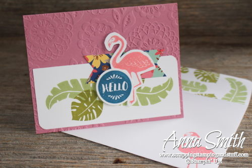 Hand stamped tropical flamingo card made with Stampin' Up! Pop of Paradise stamp set and designer paper, and new Sweet Sugarplum In Color cardstock.