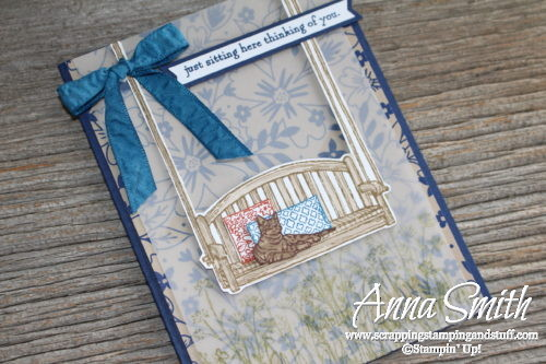 Adorable porch swing and kitty cat card using the Stampin' Up! Sitting Here stamp set and Affectionately Yours designer paper