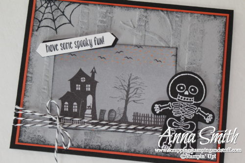 Skeleton Halloween Card made with Stampin' Up! Cookie Cutter Builder Punch, cookie cutter halloween stamp set, woodland embossing folder and Halloween Night designer paper