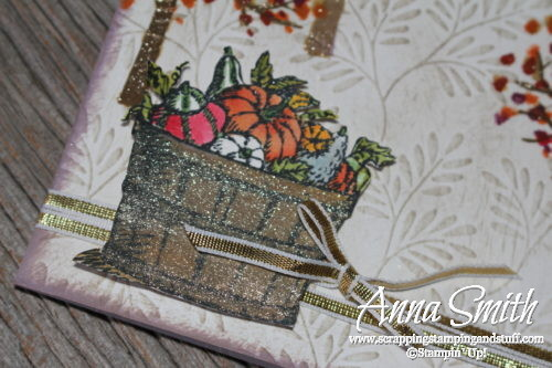Fall bushel basket birthday card and crate with pumpkins and fall leaves, using the Sheltering Tree and Basket of Wishes stamp sets