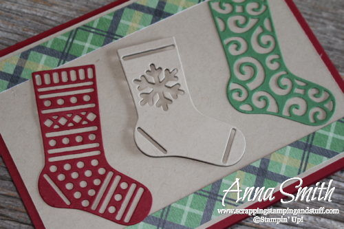 Stampin' Up stocking Christmas card made with the Hang Your Stocking stamp set and Christmas Stockings thinlits