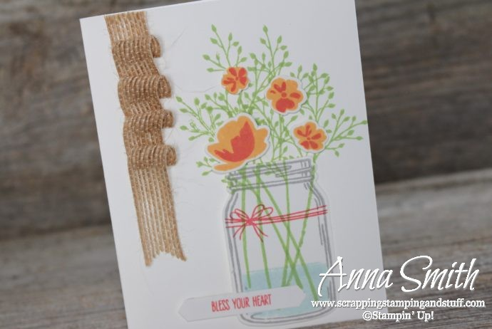 Such a cheery card made with the Stampin' Up! Jar of Love stamp set