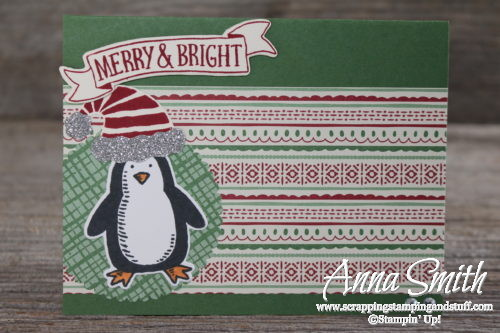 Penquin Christmas card made with Snow Place and Stitched with Cheer stamp sets, This Christmas dsp, Jolly Hat Builder punch