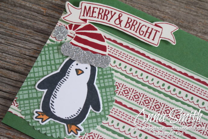 Penquin Christmas card made with Snow Place and Stitched with Cheer stamp sets, This Christmas designer paper and the Jolly Hat Builder punch.
