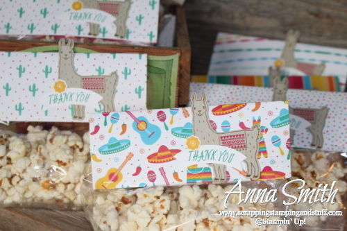 Popcorn party favor treat bags with a llama! Made with Stampin' Up! Birthday Fiesta bundle and Festive Birthday designer paper.