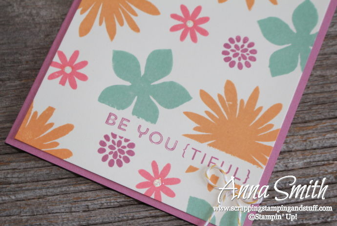 Bright, cheery encouragement card made with the Stampin' Up! Flower Patch stamp set, uses masking technique