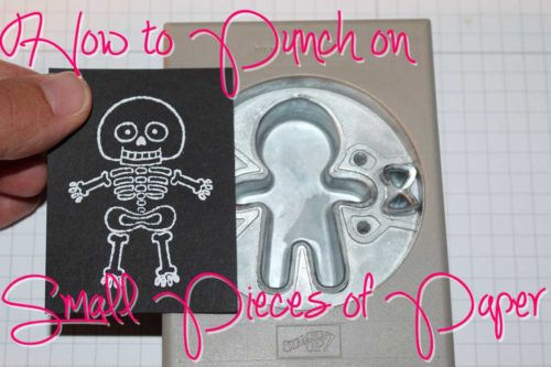 Tip for how to punch on small pieces of paper, also a paper saving tip. Shown with the Stampin' Up! Cookie Cutter Builder Punch.