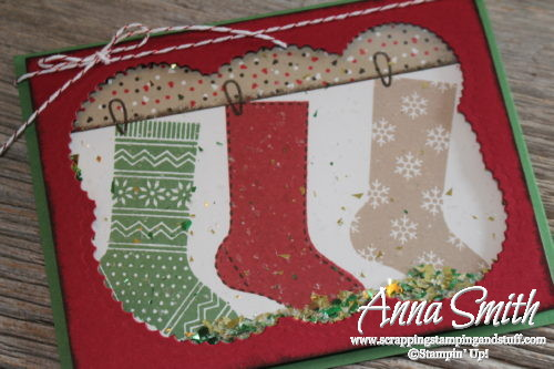 Hang Your Stock Christmas Shaker Card with Candy Cane Lane designer paper