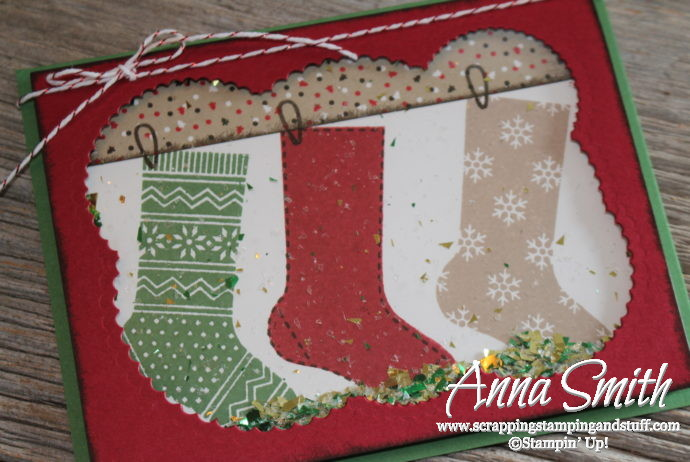 Online stamp club free project kit for November - Hang Your Stocking christmas shaker card