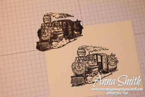 Tuesday Tip stamping technique tutorial - tips and tricks for masking images. Sample card shown using the Christmas magic train stamp set.