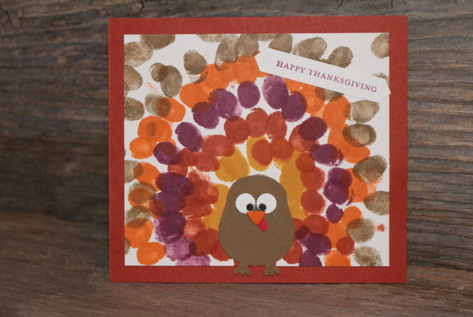 Fingerprint Turkey Card Children's Craft Project made with Stampin' Up! Owl Builder Punch