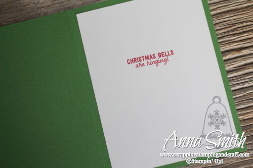 Christmas card with Stampin' Up! Seasons Bells stamp set, Holly embossing folder, bell punch and This Christmas dsp