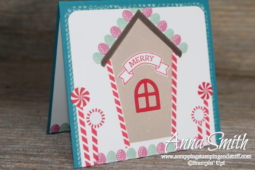 Sweet Home Gingerbread House Christmas Card with peppermints and gumballs!