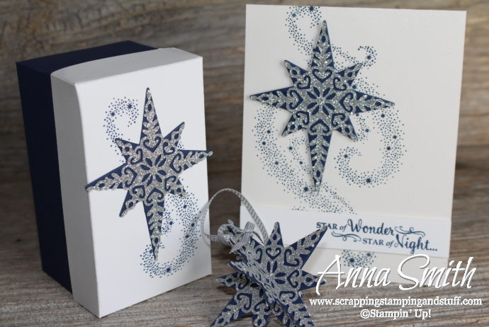 Handmade card, Christmas ornament, and gift box set made with the Stampin' Up! Star of Light stamp set and thinlits. A great DIY gift idea!