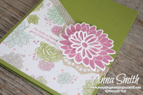 Pretty flower friendship card made with Stampin' Up! Special Reason stamp set, Stylish Stems Framelits and Succulent Garden designer paper