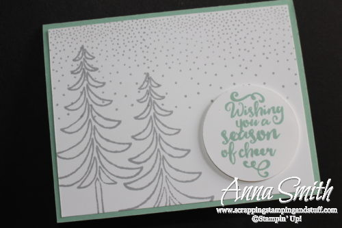 A simple snowy Christmas card made with the Stampin' Up! Santa's Sleigh , Wonderful Year, and Jar of Cheer stamp sets