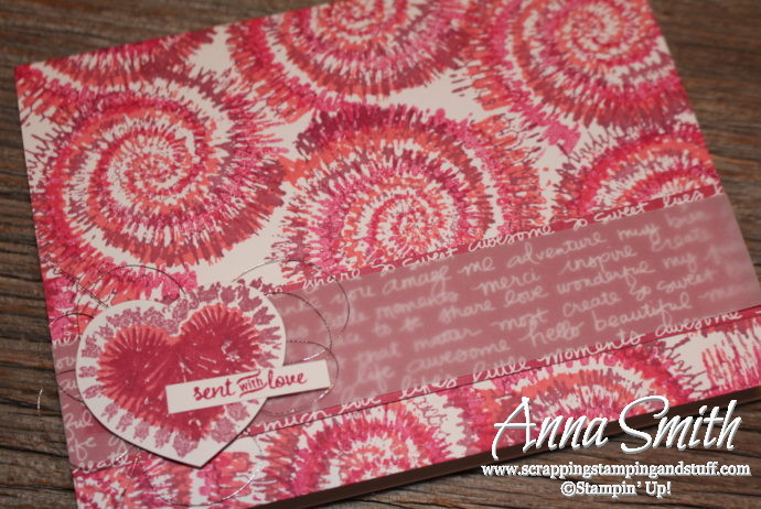 Fun Valentine's Day card using Stampin' Up! Tie Dyed and Sealed with Love stamp sets