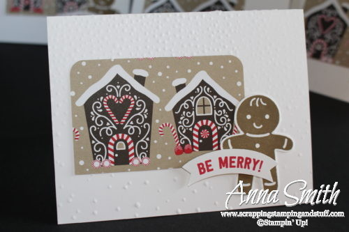 Gingerbread house Christmas card made with the Stampin' Up! Candy Cane Lane designer paper and Cookie Cutter Christmas stamp set and punch