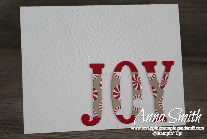 Joy Christmas card made with Stampin' Up! Wonderful Year stamp set, Large Letters Framelits, and Candy Cane Lane designer paper