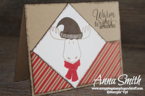 Merry Christ-moose card made with Stampin' Up! Jolly Friends and Tin of Tags stamp sets