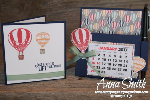 Hot air balloon desk organizer gift set made with Stampin' Up! Lift Me Up stamp set, Up & Away thinlits, and Carried Away designer paper