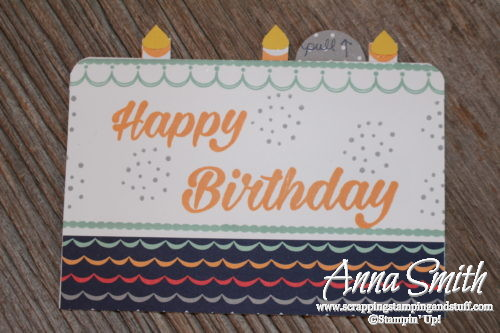 Pop up birthday cake card made with Stampin' Up! Birthday Bright stamp set - this month's free project kit and tutorial for stamp club members!