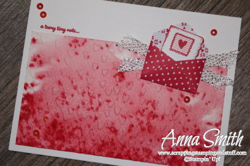 Watercolor Valentine's Day card made with Stampin' Up! Sealed with Love stamp set and Love Notes framelits
