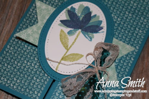 Beautiful blue gate fold card made with Stampin' Up! Avant Garden stamp set that can be earned free right now during Sale-a-bration!