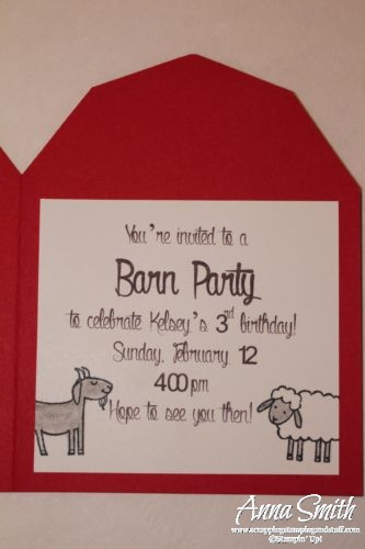 Toddler birthday party idea - Barn and farm animal birthday party invitations made with Stampin' Up! Barnyard Babies stamp set