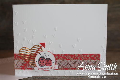 Sweet ladybug Valentine's Day card made with Stampin' Up! Love You Lots stamp set, Love Notes Framelits dies, and Falling Petals embossing folder