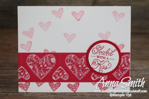 Easy Valentine's Day Card made with Stampin' Up! Sealed with Love stamp set and Sending Love designer paper
