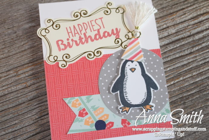 Penguin birthday card made with Stampin' Up! Snow Place stamp set and Carried Away designer paper