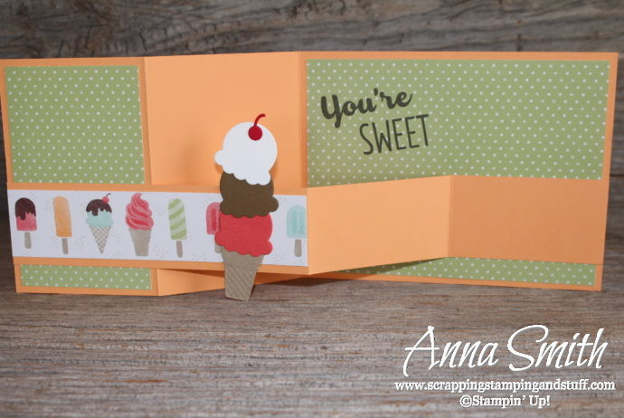 Cute ice cream double z fold card made with Stampin' Up! Cool Treats stamp set and Frozen Treats Framelits